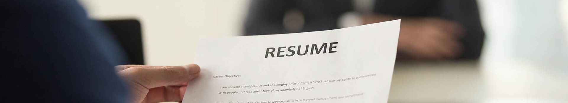 hand holding resume